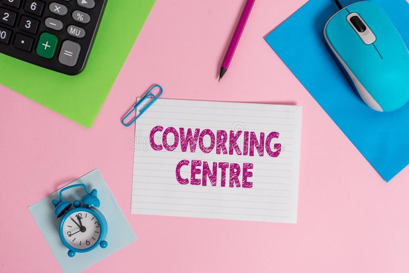 Word writing text Coworking Centre. Business concept for shared workplace often office and independent activity Mouse. Word writing text Coworking Centre royalty free stock images