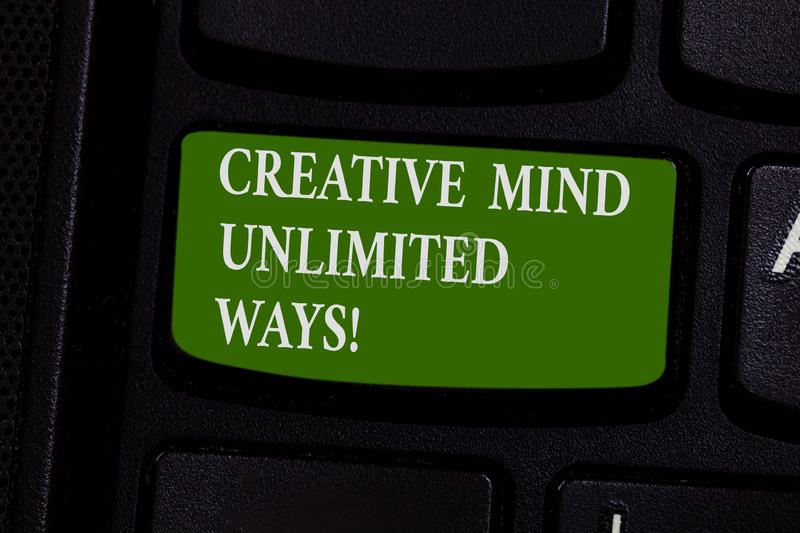 Word writing text Creative Mind Unlimited Ways. Business concept for Creativity brings lots of possibilities Keyboard royalty free stock photos
