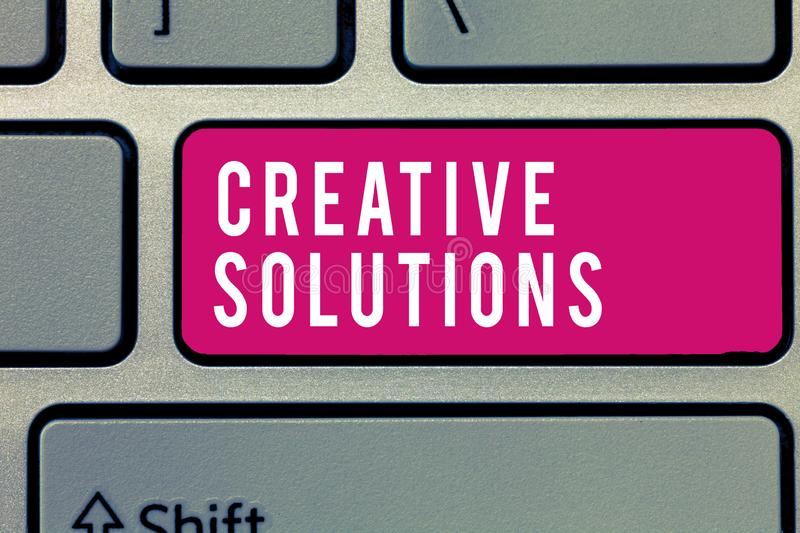 Word writing text Creative Solutions. Business concept for Original and unique approach in solving a problem royalty free stock photos