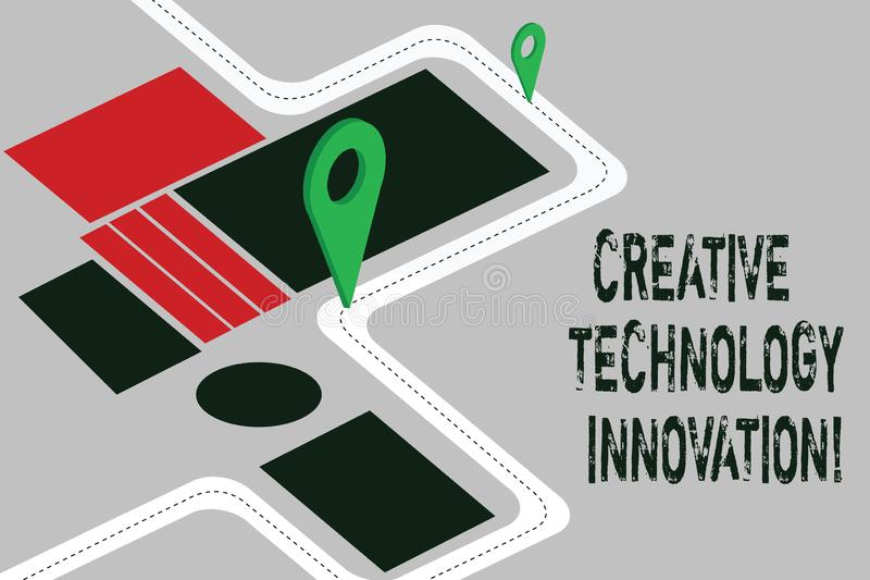 Word writing text Creative Technology Innovation. Business concept for unleashing the mind to conceive new ideas Road. Map Navigation Marker 3D Locator Pin for vector illustration