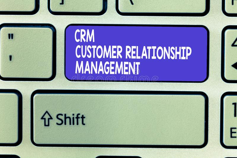 Word writing text Crm Customer Relationship Management. Business concept for Manage and analyze customer interaction.  royalty free stock photography