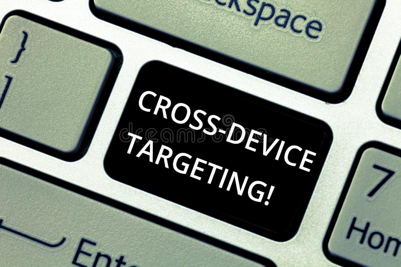 Word writing text Cross Device Targeting. Business concept for identifying delivering ads to a specific audience. Keyboard key Intention to create computer royalty free stock photos