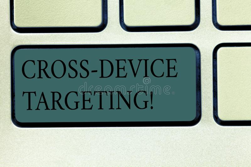 Word writing text Cross Device Targeting. Business concept for identifying delivering ads to a specific audience. Keyboard key Intention to create computer stock photos