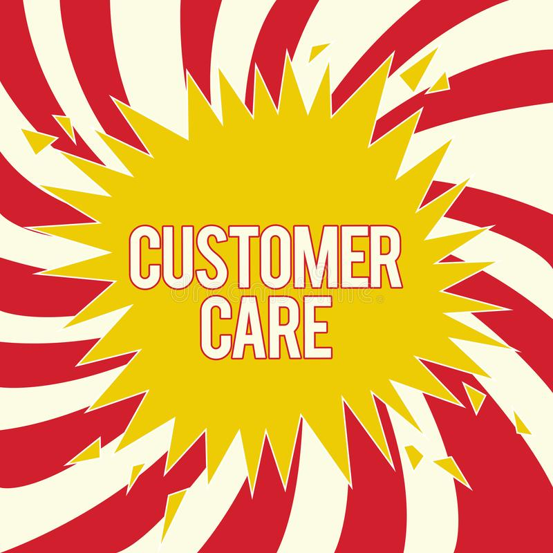 Word writing text Customer Care. Business concept for Process of eyeing clients to best ensure their satisfaction.  stock illustration