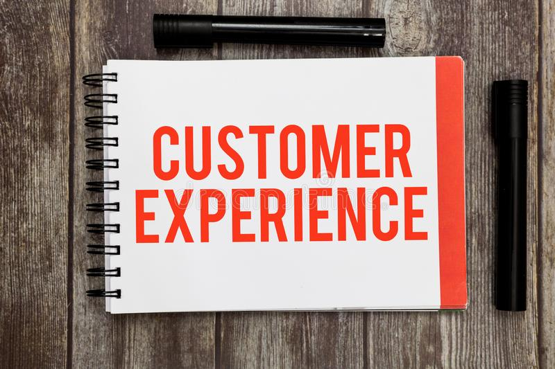 Word writing text Customer Experience. Business concept for Interaction between Satisfied Customer and Organization.  stock photos