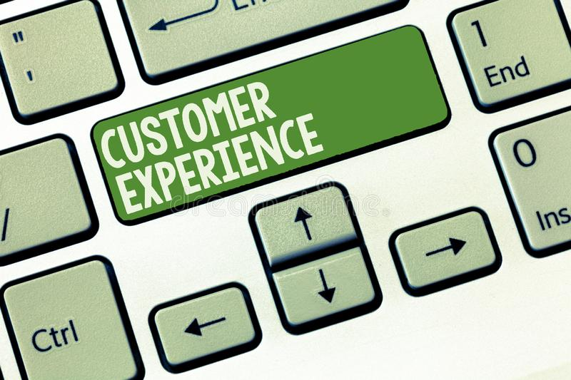 Word writing text Customer Experience. Business concept for Interaction between Satisfied Customer and Organization.  royalty free stock images