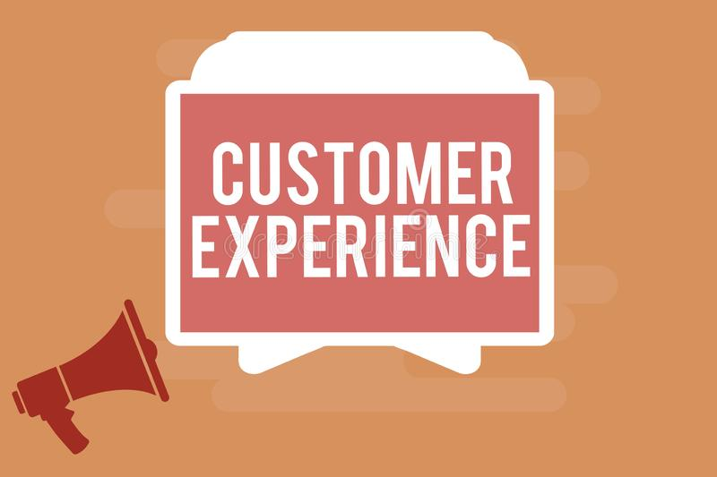 Word writing text Customer Experience. Business concept for Interaction between Satisfied Customer and Organization.  vector illustration