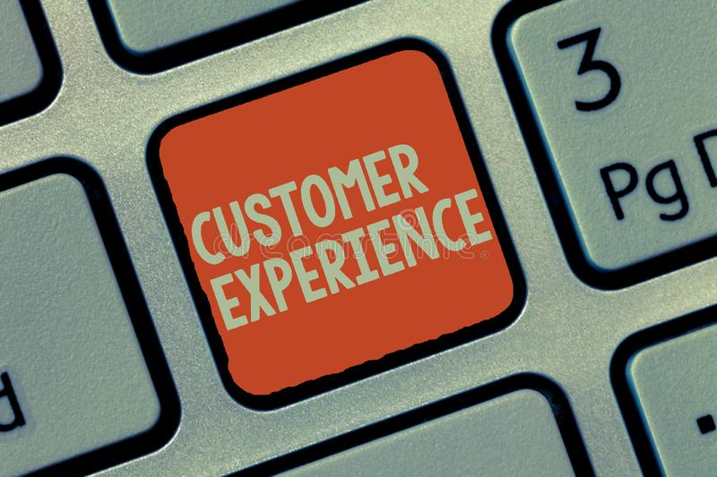 Word writing text Customer Experience. Business concept for Interaction between Satisfied Customer and Organization.  stock image