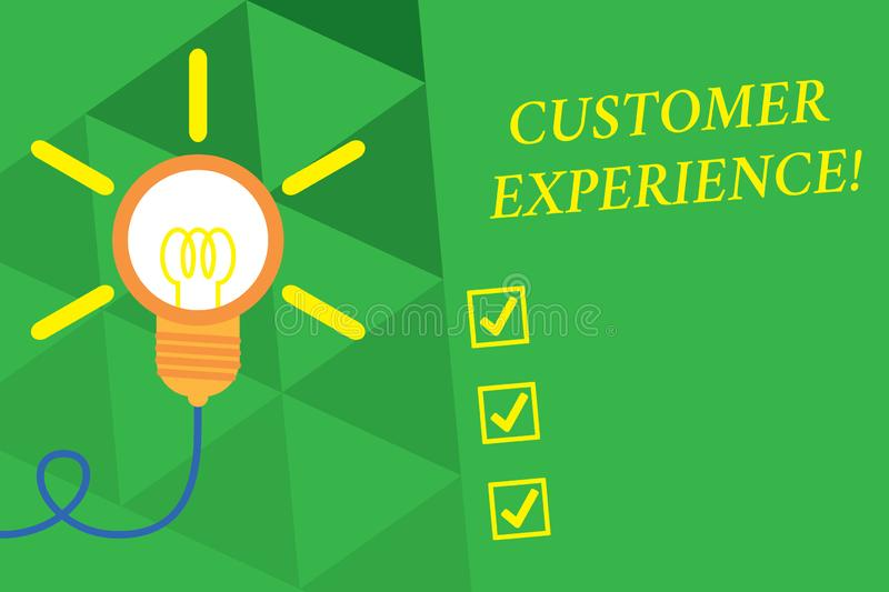Word writing text Customer Experience. Business concept for Interaction between Satisfied Customer and Organization Big. Word writing text Customer Experience royalty free illustration