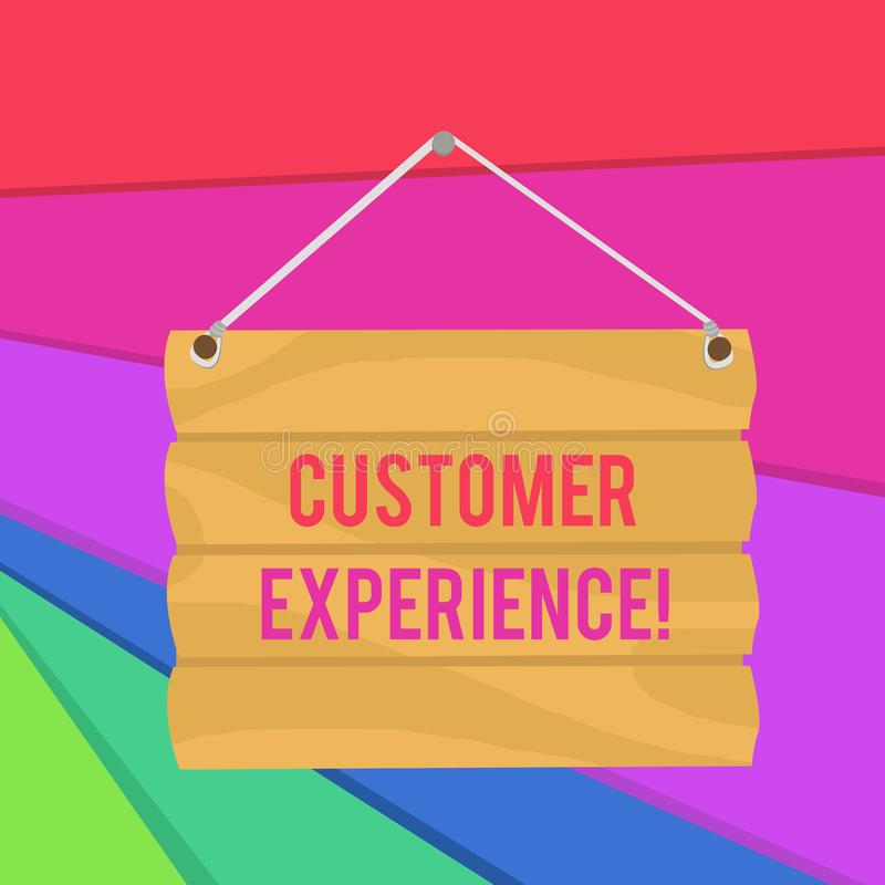 Word writing text Customer Experience. Business concept for Interaction between Satisfied Customer and Organization Hook. Word writing text Customer Experience stock illustration