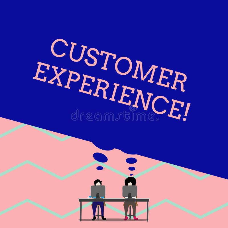 Word writing text Customer Experience. Business concept for Interaction between Satisfied Customer and Organization Man. Word writing text Customer Experience vector illustration