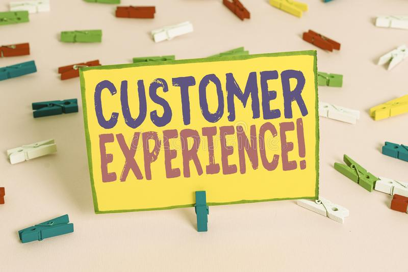 Word writing text Customer Experience. Business concept for product of interaction between organization and buyer Colored. Word writing text Customer Experience stock image