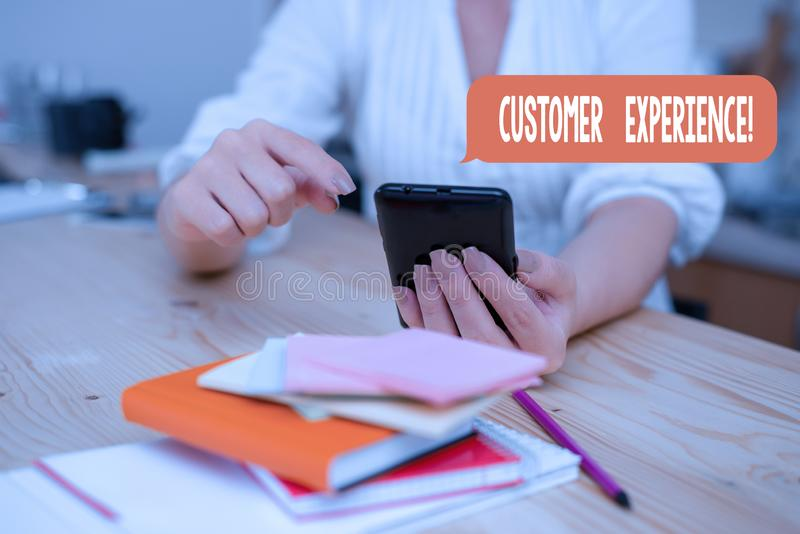 Word writing text Customer Experience. Business concept for product of interaction between organization and buyer woman. Word writing text Customer Experience stock photos