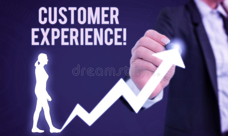 Word writing text Customer Experience. Business concept for product of interaction between organization and buyer Female. Word writing text Customer Experience royalty free stock photography