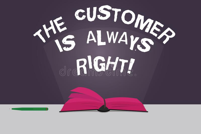Word writing text The Customer Is Always Right. Business concept for You have to warranty your clients satisfaction. Color Pages of Open Book photo on Table royalty free illustration