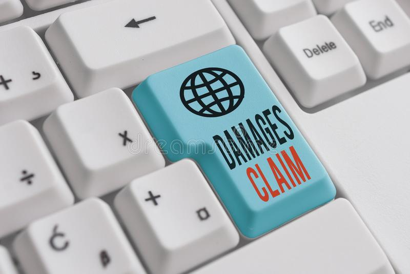 Word writing text Damages Claim. Business concept for Deanalysisd Compensation Litigate Insurance File Suit White pc. Word writing text Damages Claim. Business royalty free stock photos