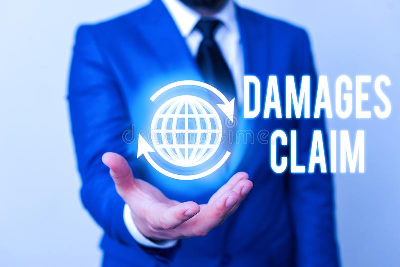 Word writing text Damages Claim. Business concept for Deanalysisd Compensation Litigate Insurance File Suit. Word writing text Damages Claim. Business photo royalty free stock image