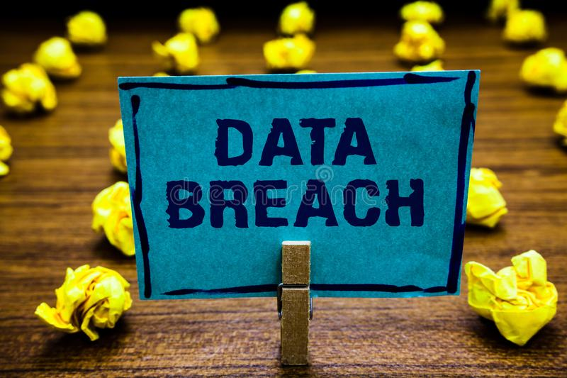 Word writing text Data Breach. Business concept for security incident where sensitive protected information copied Clothespin hold. Ing blue paper note crumpled vector illustration