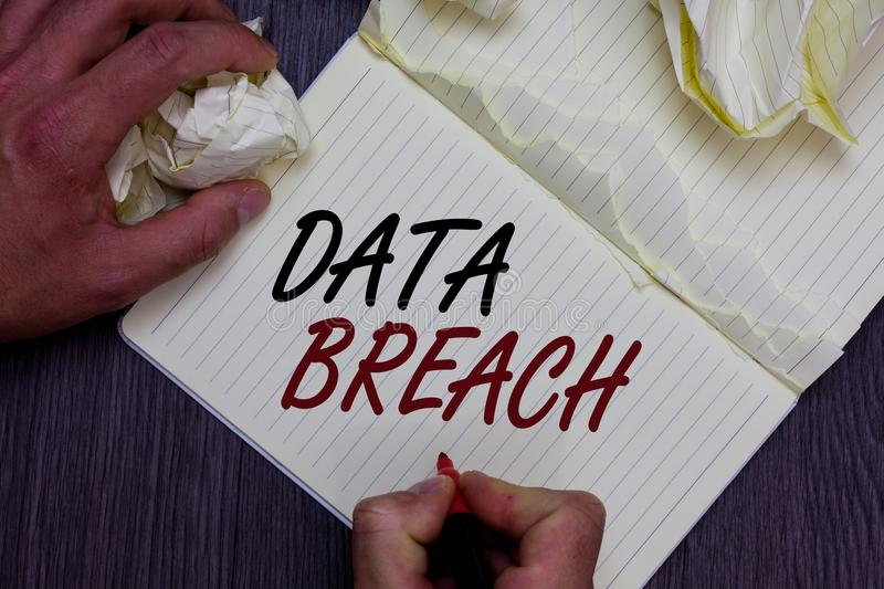 Word writing text Data Breach. Business concept for security incident where sensitive protected information copied Man holding mar. Ker notebook crumpled papers royalty free stock photo
