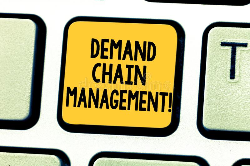 Word writing text Deanalysisd Chain Management. Business concept for Relationships between suppliers and customers. Keyboard key Intention to create computer stock image