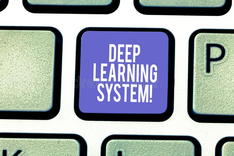 Word writing text Deep Learning System. Business concept for collection of algorithms used in machine learning Keyboard. Key Intention to create computer royalty free stock photography