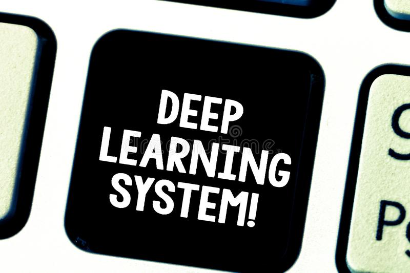 Word writing text Deep Learning System. Business concept for collection of algorithms used in machine learning Keyboard. Key Intention to create computer stock photos