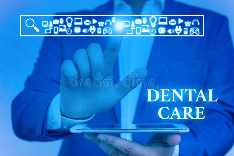 Word writing text Dental Care. Business concept for maintenance of healthy teeth or to keep it clean for future Male. Word writing text Dental Care. Business stock photo