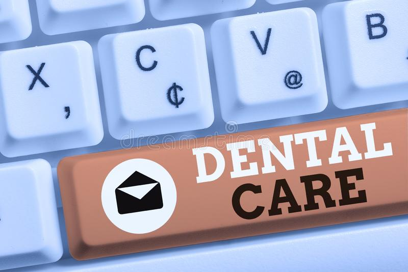 Word writing text Dental Care. Business concept for maintenance of healthy teeth or to keep it clean for future White pc. Word writing text Dental Care. Business stock photo