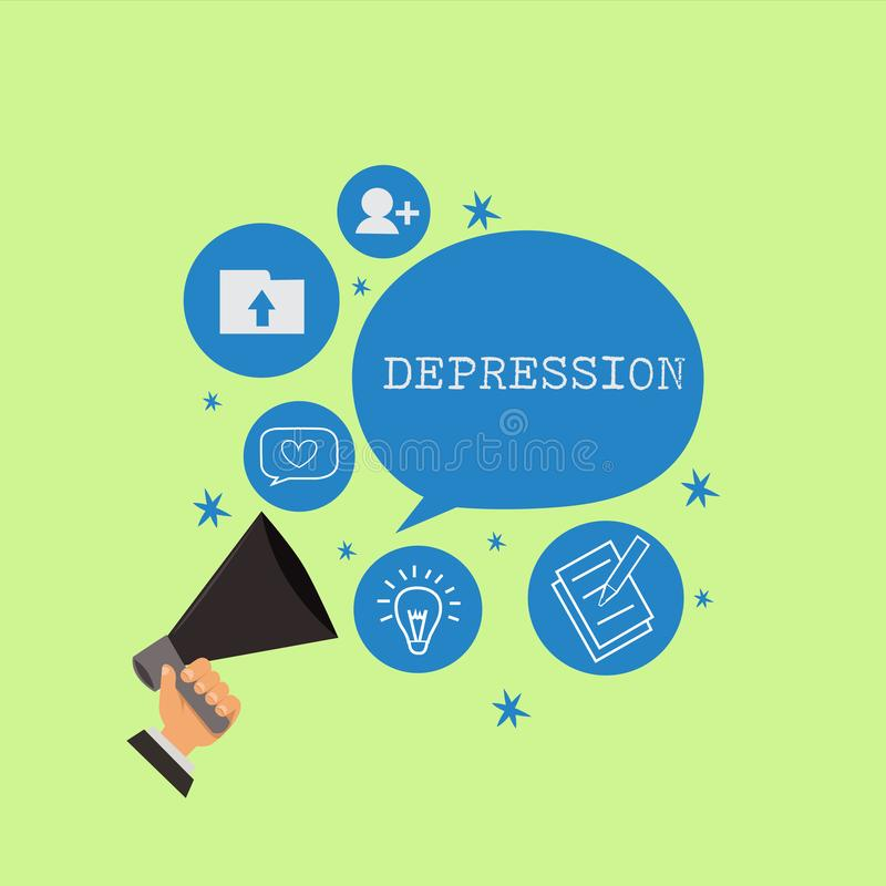 Word writing text Depression. Business concept for Feelings of severe despondency and dejection Mood disorder.  royalty free illustration