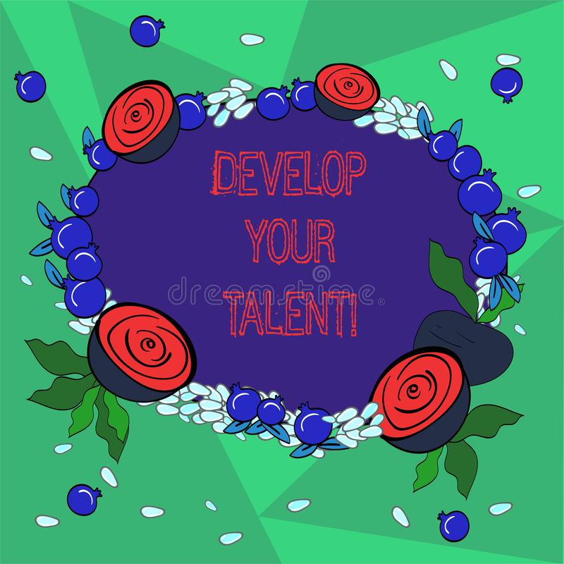 Word writing text Develop Your Talent. Business concept for improve natural aptitude or skill with effort and time. Floral Wreath made of Tiny Seeds Small royalty free illustration