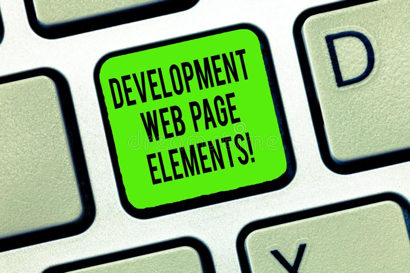 Word writing text Development Web Page Elements. Business concept for Website design online sites developing Keyboard royalty free stock image