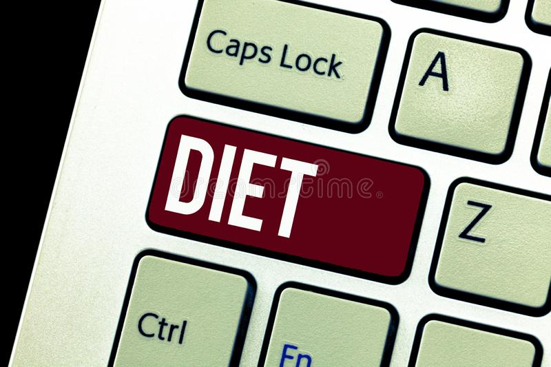 Word writing text Diet. Business concept for Healthy lifestyle Reduce food intake Vegetarian No to cholesterol stock images