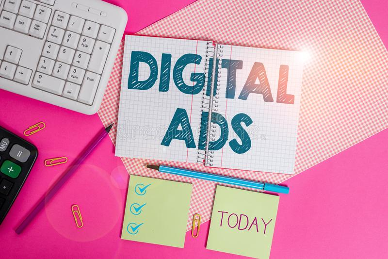 Word writing text Digital Ads. Business concept for uses the Internet to deliver promotional marketing messages Writing equipments. Word writing text Digital Ads royalty free stock photography