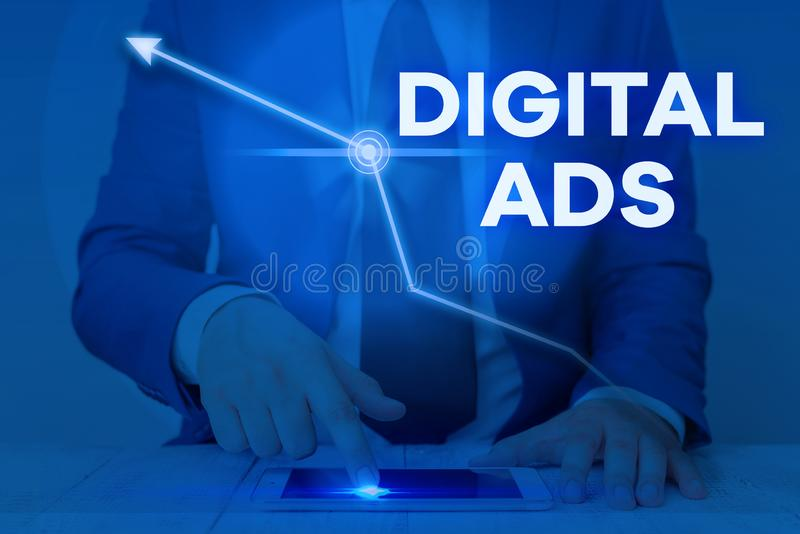 Word writing text Digital Ads. Business concept for uses the Internet to deliver promotional marketing messages. Word writing text Digital Ads. Business photo royalty free stock image