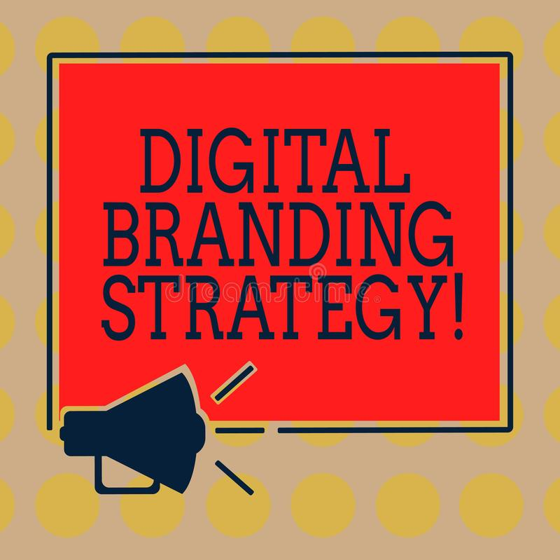 Word writing text Digital Branding Strategy. Business concept for develop a brand over a range of digital venues Megaphone Sound. Icon Outlines Blank Square stock illustration