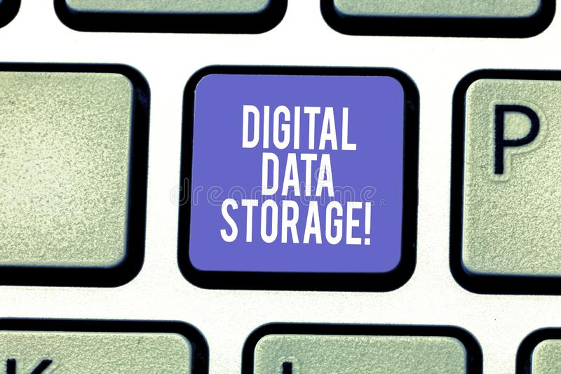 Word writing text Digital Data Storage. Business concept for format for storing and backing up computer data on tape. Keyboard key Intention to create computer royalty free stock images
