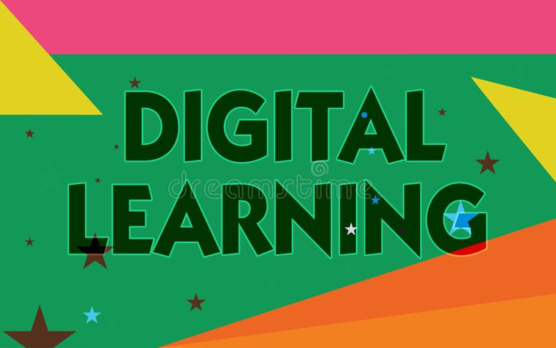Word writing text Digital Learning. Business concept for accompanied by technology or by instructional practice royalty free illustration
