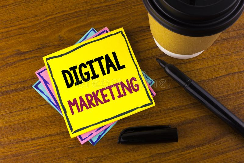 Word writing text Digital Marketing. Business concept for Strategy of products services digital technologies online written on Sti. Word writing text Digital stock photography