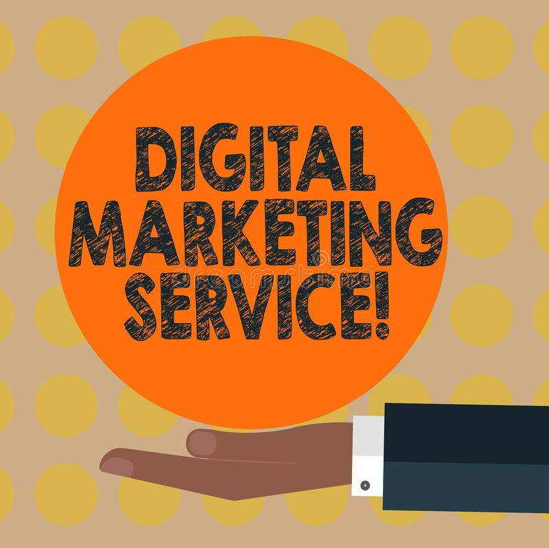 Word writing text Digital Marketing Service. Business concept for services using digital channels to reach consumers Hu analysis. Hand in Suit Offering Blank vector illustration