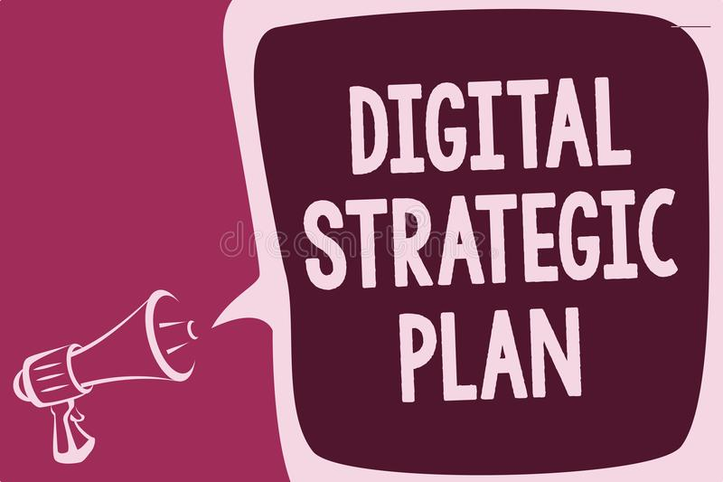 Word writing text Digital Strategic Plan. Business concept for creat schedule for marketing product or brand Reporting thinking al. Arming sound speaker warning royalty free illustration