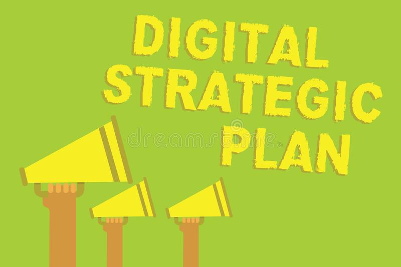 Word writing text Digital Strategic Plan. Business concept for creat schedule for marketing product or brand Three sound loud spea. Ker multiple lines text royalty free illustration