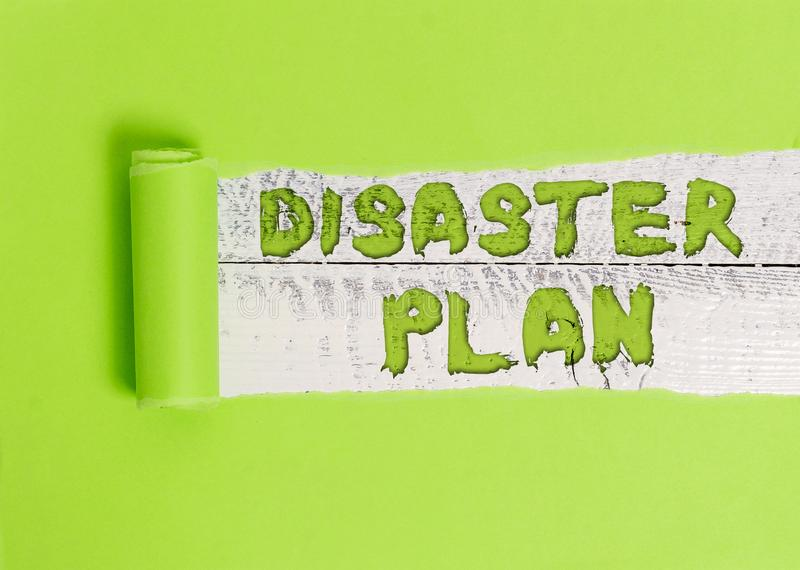 Word writing text Disaster Plan. Business concept for Respond to Emergency Preparedness Survival and First Aid Kit. Word writing text Disaster Plan. Business stock photography