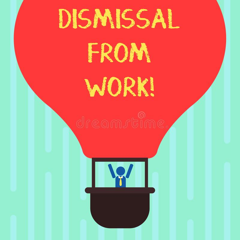 Word writing text Dismissal From Work. Business concept for Terminated from Employment for reason Get fired Hu analysis. Dummy Arms Raising inside Gondola royalty free illustration