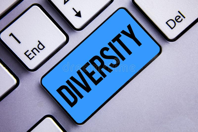 Word writing text Diversity. Business concept for Being Composed of different elements Diverse Variety Multiethnic Keyboard blue k stock images