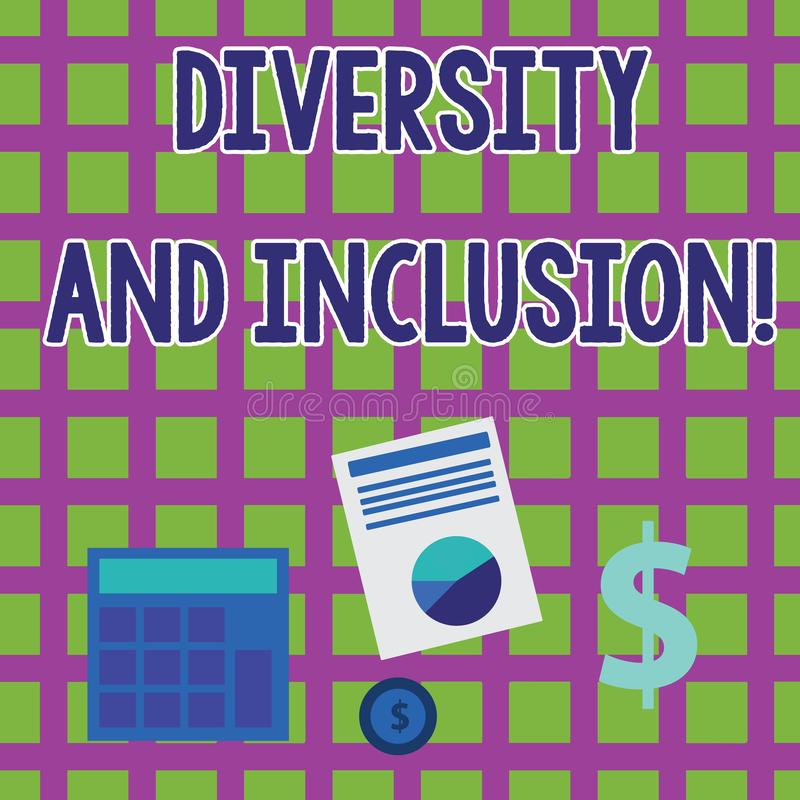 Word writing text Diversity And Inclusion. Business concept for range huanalysis difference includes race ethnicity. Word writing text Diversity And Inclusion vector illustration