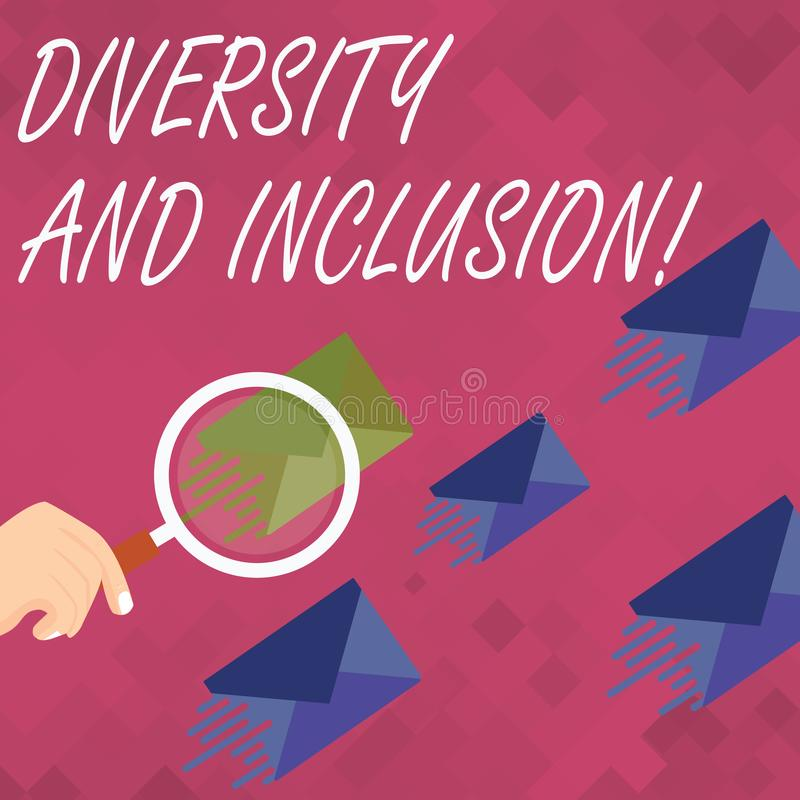 Word writing text Diversity And Inclusion. Business concept for range huanalysis difference includes race ethnicity. Word writing text Diversity And Inclusion stock illustration