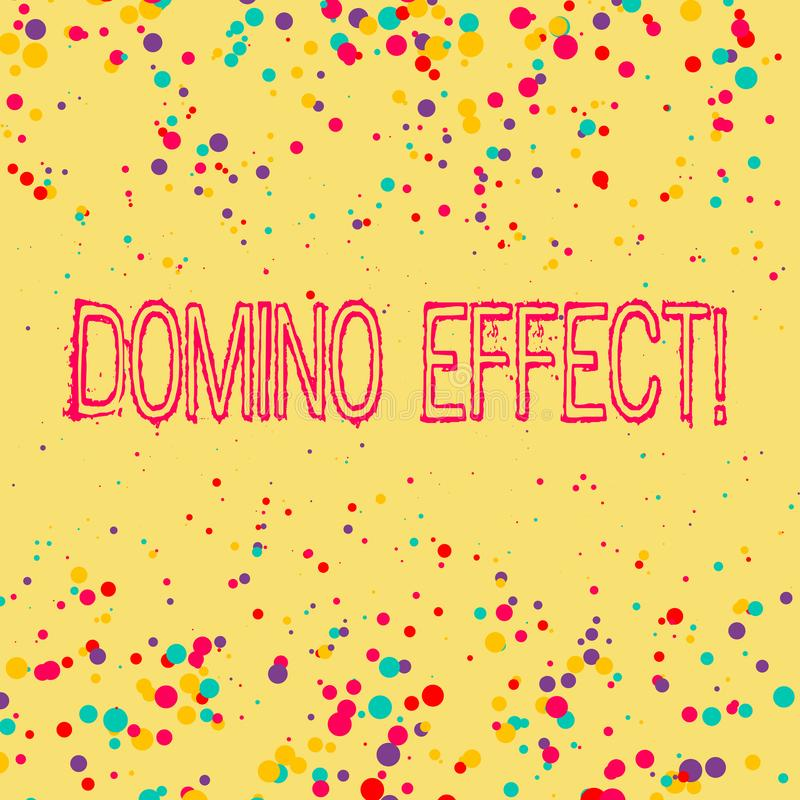 Word writing text Domino Effect. Business concept for Chain reaction that causing other similar events to happen. Word writing text Domino Effect. Business vector illustration
