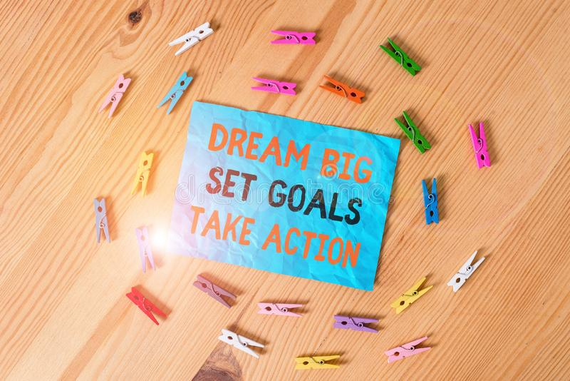 Word writing text Dream Big Set Goals Take Action. Business concept for Motivation to follow your dreams Inspiration. Word writing text Dream Big Set Goals Take stock image