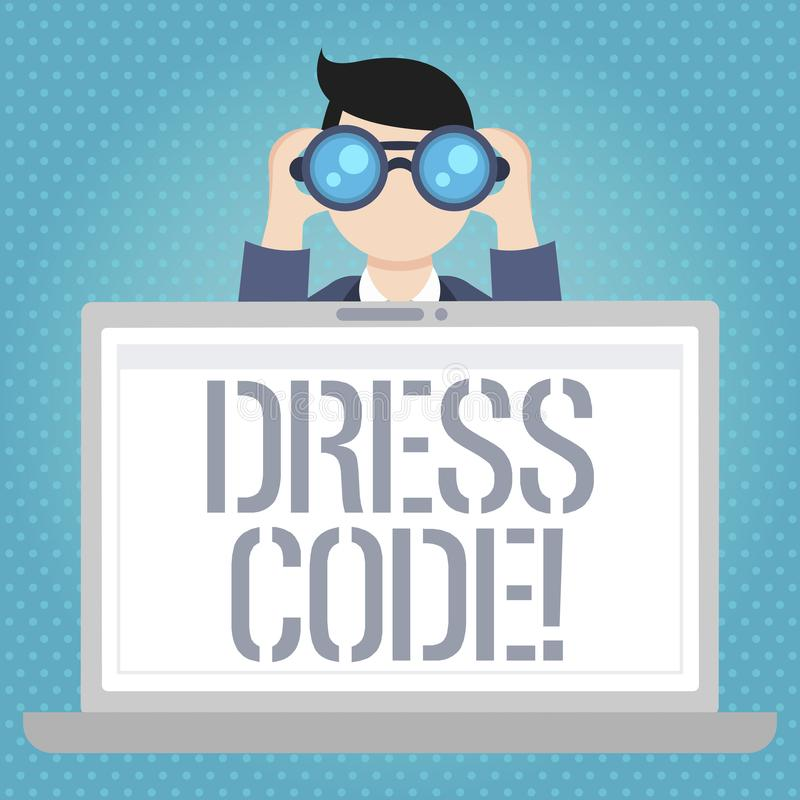 Word writing text Dress Code. Business concept for Rules of what you can wear and not to school or an event. stock illustration