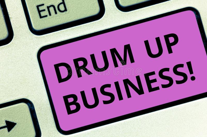 Word writing text Drum Up Business. Business concept for increase deanalysisd activity or get support for something. Keyboard key Intention to create computer royalty free stock photo